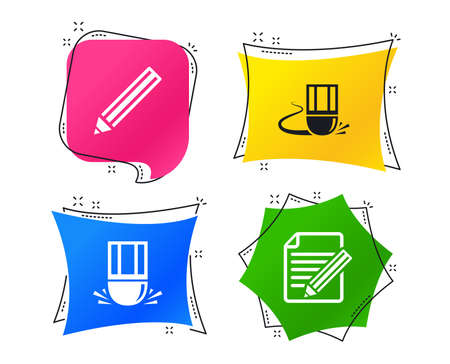 Pencil icon. Edit document file. Eraser sign. Correct drawing symbol. Geometric colorful tags. Banners with flat icons. Trendy design. Vector Ilustração
