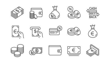 Money and payment line icons. Cash, Wallet and Coins. Account cashback linear icon set.  Vector Foto de archivo - 117966023