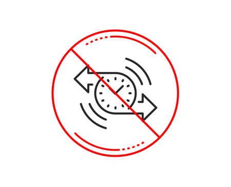 No or stop sign. Timer line icon. Time or clock sign. Caution prohibited ban stop symbol. No  icon design.  Vector