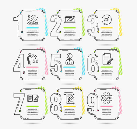Timeline set of Article, Copyrighter and Feather icons. Algorithm, Feedback and Check investment signs. Sales diagram, Update data and Service symbols. Vector Illustration