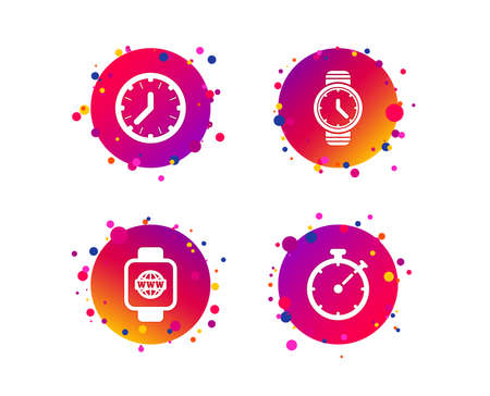 Smart watch with internet icons. Mechanical clock time, Stopwatch timer symbols. Wrist digital watch sign. Gradient circle buttons with icons. Random dots design. Vector