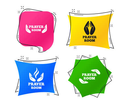 Prayer room icons. Religion priest faith symbols. Pray with hands. Geometric colorful tags. Banners with flat icons. Trendy design. Vector