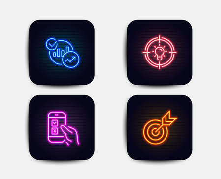 Neon set of Statistics, Idea and Mobile survey icons. Target sign. Report charts, Solution, Phone quiz test. Targeting. Neon icons. Glowing light banners. Vector