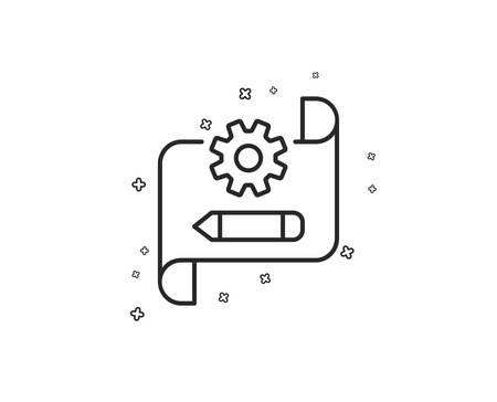 Cogwheel blueprint line icon. Engineering tool sign. Edit settings symbol. Geometric shapes. Random cross elements. Linear Cogwheel blueprint icon design. Vector