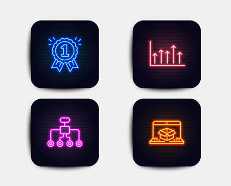 Neon set of Growth chart, Reward and Restructuring icons. Online delivery sign. Upper arrows, First place, Delegate. Parcel tracking website. Neon icons. Glowing light banners. Vector Çizim