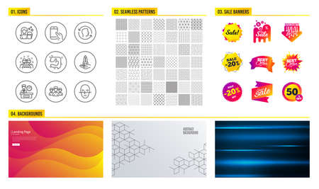 Seamless pattern. Shopping mall banners. Set of Crowdfunding, Group and Presentation time icons. Face id, Gift and Like signs. Cleaning, Hold smartphone and Face recognition symbols. Vector