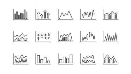 Graphiques et icônes de ligne de graphiques. Graphique en chandelier, graphique d'information et diagramme de rapport. Jeu d'icônes linéaire de présentation. Vecteur Vecteurs
