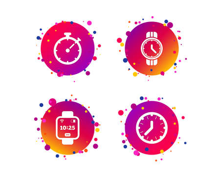 Smart watch icons. Mechanical clock time, Stopwatch timer symbols. Wrist digital watch sign. Gradient circle buttons with icons. Random dots design. Vector Stock Vector - 124794393