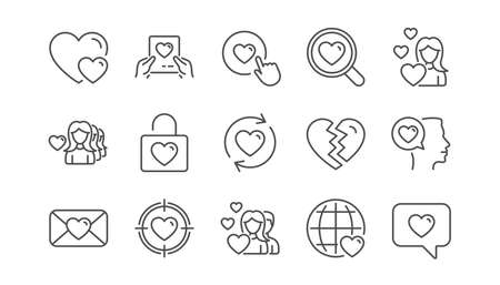Love line icons. Heart, Valentines day and Relationships. Romantic linear icon set.  Vector