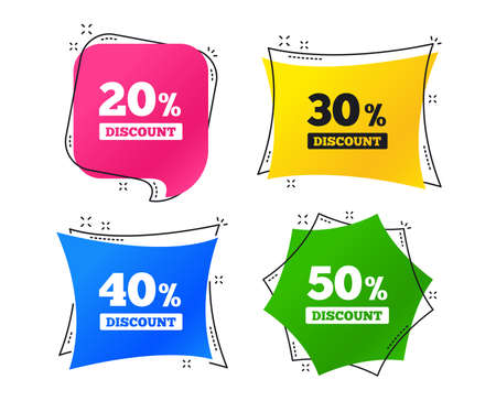 Sale discount icons. Special offer price signs. 20, 30, 40 and 50 percent off reduction symbols. Geometric colorful tags. Banners with flat icons. Trendy design. Vector Illustration