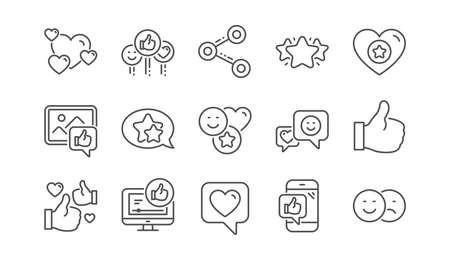 Ikony linii mediów społecznościowych. Udostępnianie sieci, jak kciuki w górę i ocena. Zestaw ikon liniowy uśmiech sprzężenia zwrotnego. Wektor