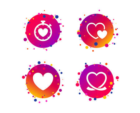 Heart ribbon icon. Timer stopwatch symbol. Love and Heartbeat palpitation signs. Gradient circle buttons with icons. Random dots design. Vector Illustration