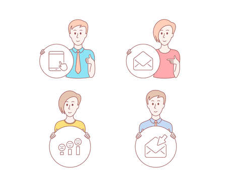 People hand drawn style. Set of Mail, Customer satisfaction and Tablet pc icons. Open mail sign. E-mail, Happy smile chart, Touchscreen gadget. View e-mail.  Character hold circle button. Vector Archivio Fotografico - 117966318