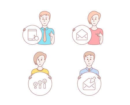 Stile disegnato a mano di persone. Set di icone di posta, soddisfazione del cliente e tablet pc. Segno di posta aperta. E-mail, grafico Happy smile, gadget touchscreen. Visualizza la posta elettronica. Tasto del cerchio della stretta del carattere. Vettore Vettoriali