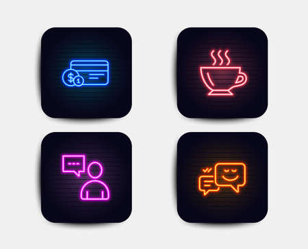 Neon glow lights. Set of Payment method, Users chat and Coffee icons. Happy emotion sign. Cash or non-cash payment, Communication concept, Cappuccino. Web chat.  Neon icons. Glowing light banners Illustration