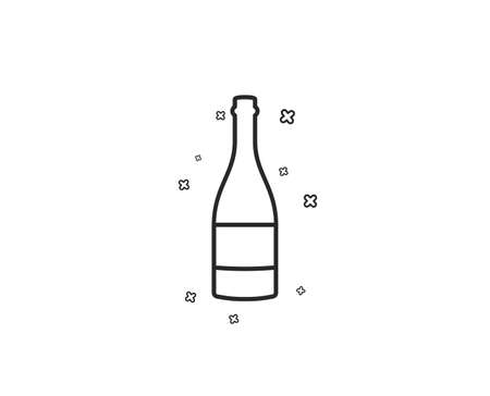 Champagne bottle line icon. Anniversary alcohol sign. Celebration event drink. Geometric shapes. Random cross elements. Linear Champagne bottle icon design. Vector