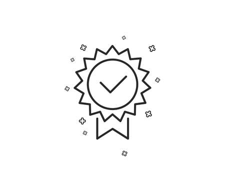 Certificate line icon. Verified award sign. Accepted or confirmed symbol. Geometric shapes. Random cross elements. Linear Certificate icon design. Vector