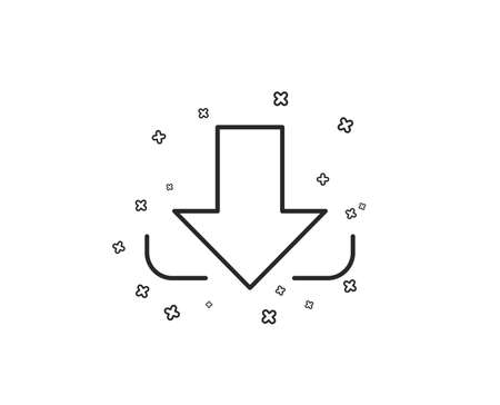 Download Arrow line icon. Down arrowhead symbol. Direction or pointer sign. Geometric shapes. Random cross elements. Linear Download icon design. Vector