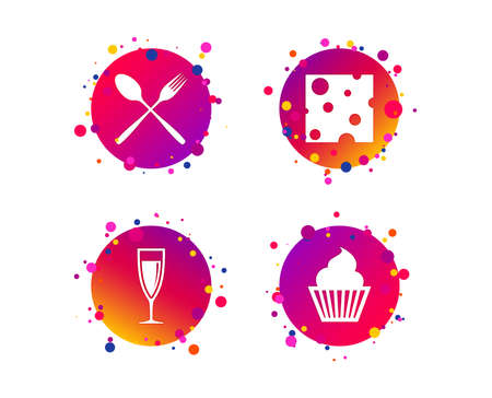 Food icons. Muffin cupcake symbol. Fork and spoon sign. Glass of champagne or wine. Slice of cheese. Gradient circle buttons with icons. Random dots design. Vector