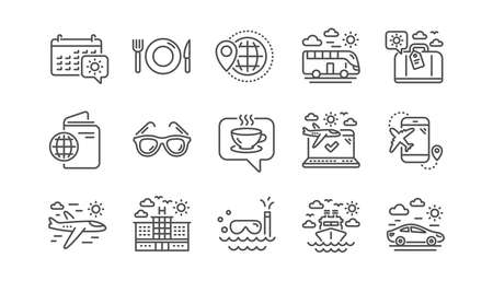 Travel line icons. Passport, Luggage and Check in airport. Sunglasses linear icon set.  Vector