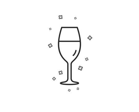 Wine glass line icon. Burgundy glass sign. Geometric shapes. Random cross elements. Linear Wineglass icon design. Vector Illustration