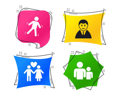 Businessman person icon. Group of people symbol. Man love Woman or Lovers sign. Caution slippery. Geometric colorful tags. Banners with flat icons. Trendy design. Vector