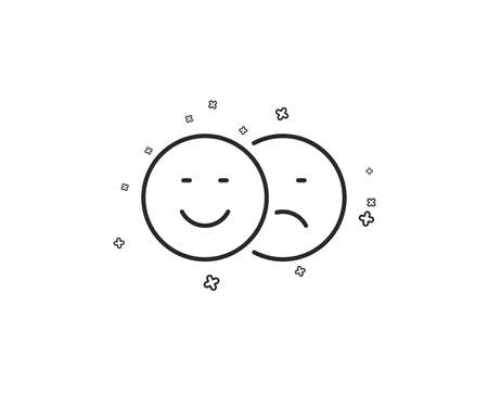 Like and dislike line icon. Smile sign. Social media feedback symbol. Geometric shapes. Random cross elements. Linear Like icon design. Vector Illustration