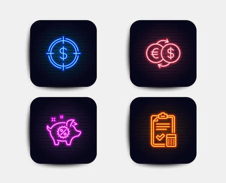 Neon set of Dollar target, Piggy sale and Money exchange icons. Accounting checklist sign. Aim with usd, Discounts, Eur to usd. Calculator. Neon icons. Glowing light banners. Vector