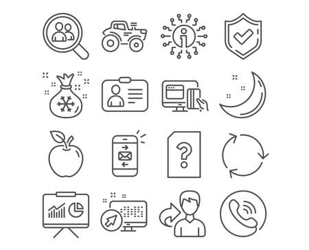 Set of Presentation, Search employees and Online payment icons. Recycling, Santa sack and Unknown file signs. Tractor, Mail and Id card symbols. Board with charts, Staff analysis, Money. Vector