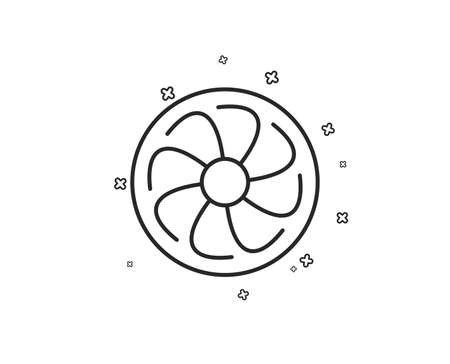 Fan engine line icon. Jet turbine sign. Ventilator symbol. Geometric shapes. Random cross elements. Linear Fan engine icon design. Vector Standard-Bild - 124794435