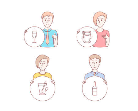 People hand drawn style. Set of Tea, Wineglass and Tea mug icons. Wine sign. Glass mug, Burgundy glass, Cup with teaspoon. Merlot bottle.  Character hold circle button. Man with like hand. Vector