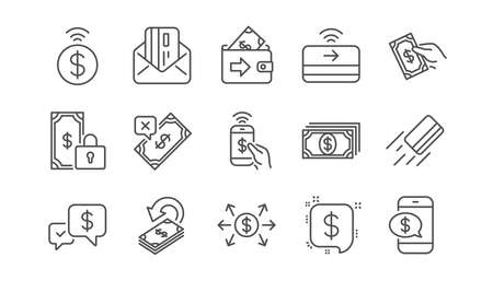 Money payment line icons. Accept transfer, Pay by Phone and Credit card. Cash linear icon set.  Vector Banco de Imagens - 117966514