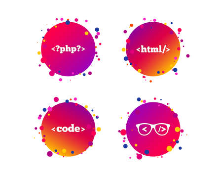 Programmer coder glasses icon. HTML markup language and PHP programming language sign symbols. Gradient circle buttons with icons. Random dots design. Vector