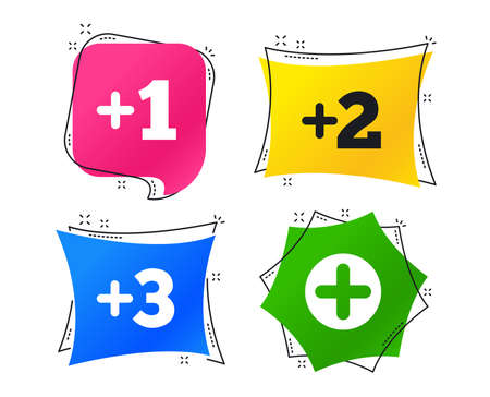 Plus icons. Positive symbol. Add one, two, three and four more sign. Geometric colorful tags. Banners with flat icons. Trendy design. Vector Ilustrace