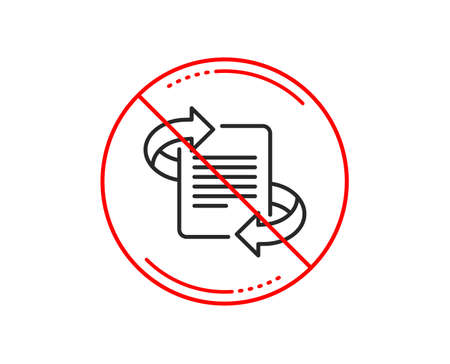 No or stop sign. Marketing line icon. Page with arrows sign. Article symbol. Caution prohibited ban stop symbol. No  icon design.  Vector