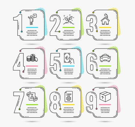 Infografik-Zeitleiste mit Symbolen für technischen Algorithmus, Agenten und Finanzen. Technische Dokumentation, Taxi- und Hausschilder. Startup-Konzept, Banking-Geld und Paketsymbole Vektorgrafik