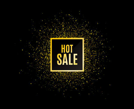Gold glitter banner. Hot Sale. Special offer price sign. Advertising Discounts symbol. Christmas sales background. Abstract shopping banner tag. Template for design. Vector