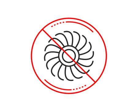 No or stop sign. Fan engine line icon. Jet turbine sign. Ventilator symbol. Caution prohibited ban stop symbol. No  icon design.  Vector Stock Vector - 117966584