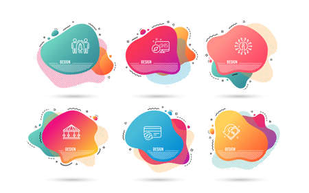 Dynamic liquid shapes. Set of Change card, Carousels and Partnership icons. Cashback sign. Payment method, Attraction park, Business startup. Receive money.  Gradient banners. Fluid abstract shapes Illustration