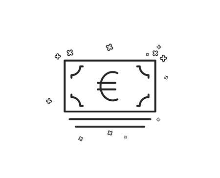 Cash money line icon. Banking currency sign. Euro or EUR symbol. Geometric shapes. Random cross elements. Linear Euro currency icon design. Vector Ilustracja