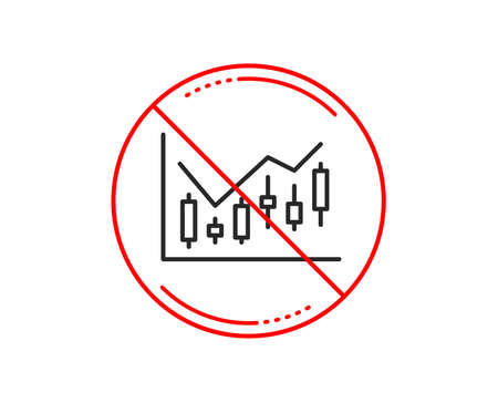 No or stop sign. Candlestick chart line icon. Financial graph sign. Stock exchange symbol. Business investment. Caution prohibited ban stop symbol. No  icon design.  Vector