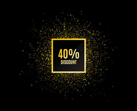 Gold glitter banner. 40% Discount. Sale offer price sign. Special offer symbol. Christmas sales background. Abstract shopping banner tag. Template for design. Vector