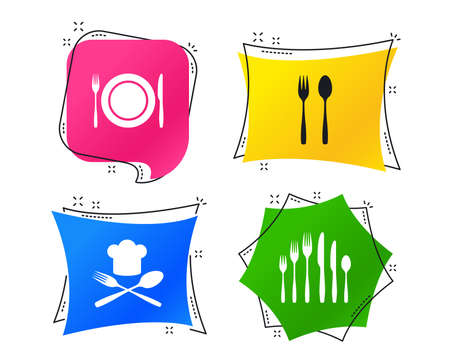 Plate dish with forks and knifes icons. Chief hat sign. Crosswise cutlery symbol. Dessert fork. Geometric colorful tags. Banners with flat icons. Trendy design. Vector
