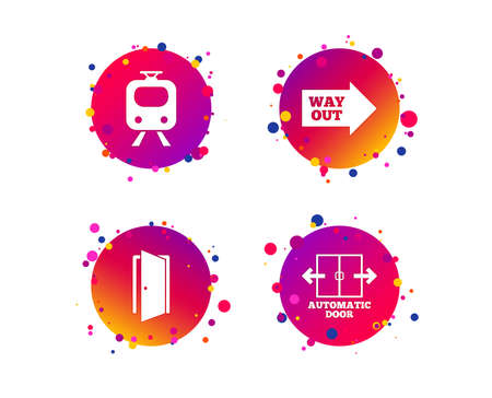 Train railway icon. Automatic door symbol. Way out arrow sign. Gradient circle buttons with icons. Random dots design. Vector Illustration