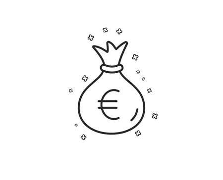 Money bag line icon. Cash Banking currency sign. Euro or EUR symbol. Geometric shapes. Random cross elements. Linear Money bag icon design. Vector Illustration