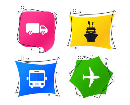 Transport icons. Truck, Airplane, Public bus and Ship signs. Shipping delivery symbol. Air mail delivery sign. Geometric colorful tags. Banners with flat icons. Trendy design. Vector Illustration