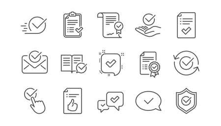 Approuver les icônes de ligne. Liste de contrôle, certificat et médaille de récompense. Jeu d'icônes linéaire de document certifié. Vecteur