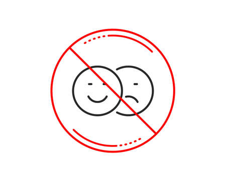 No or stop sign. Like and dislike line icon. Smile sign. Social media feedback symbol. Caution prohibited ban stop symbol. No  icon design.  Vector Ilustrace