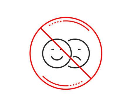 No or stop sign. Like and dislike line icon. Smile sign. Social media feedback symbol. Caution prohibited ban stop symbol. No  icon design.  Vector Illusztráció