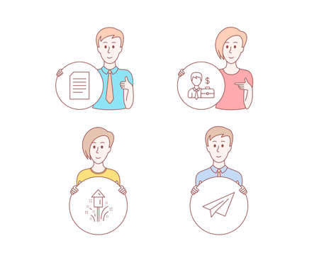 People hand drawn style. Set of Fireworks, Businessman case and Document icons. Paper plane sign. Christmas pyrotechnic, Human resources, Information file. Airplane.  Character hold circle button